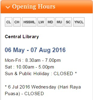central library opening hours