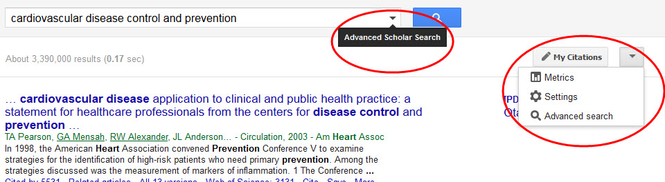 Google Scholar results list showing links to Advanced Search
