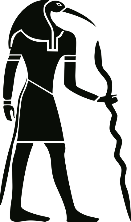 Black and white image of an Egyptian god