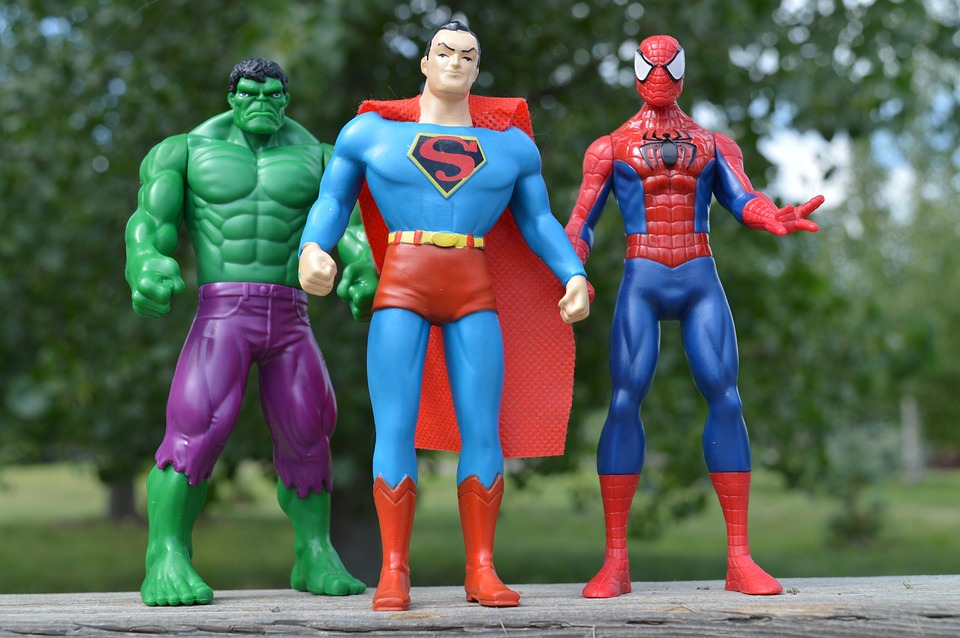 Image of the hulk, superman, and spiderman figurines