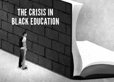 The crisis in black education brick wall separating open student from open book