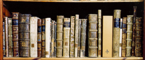Photograph of old leather-bound books