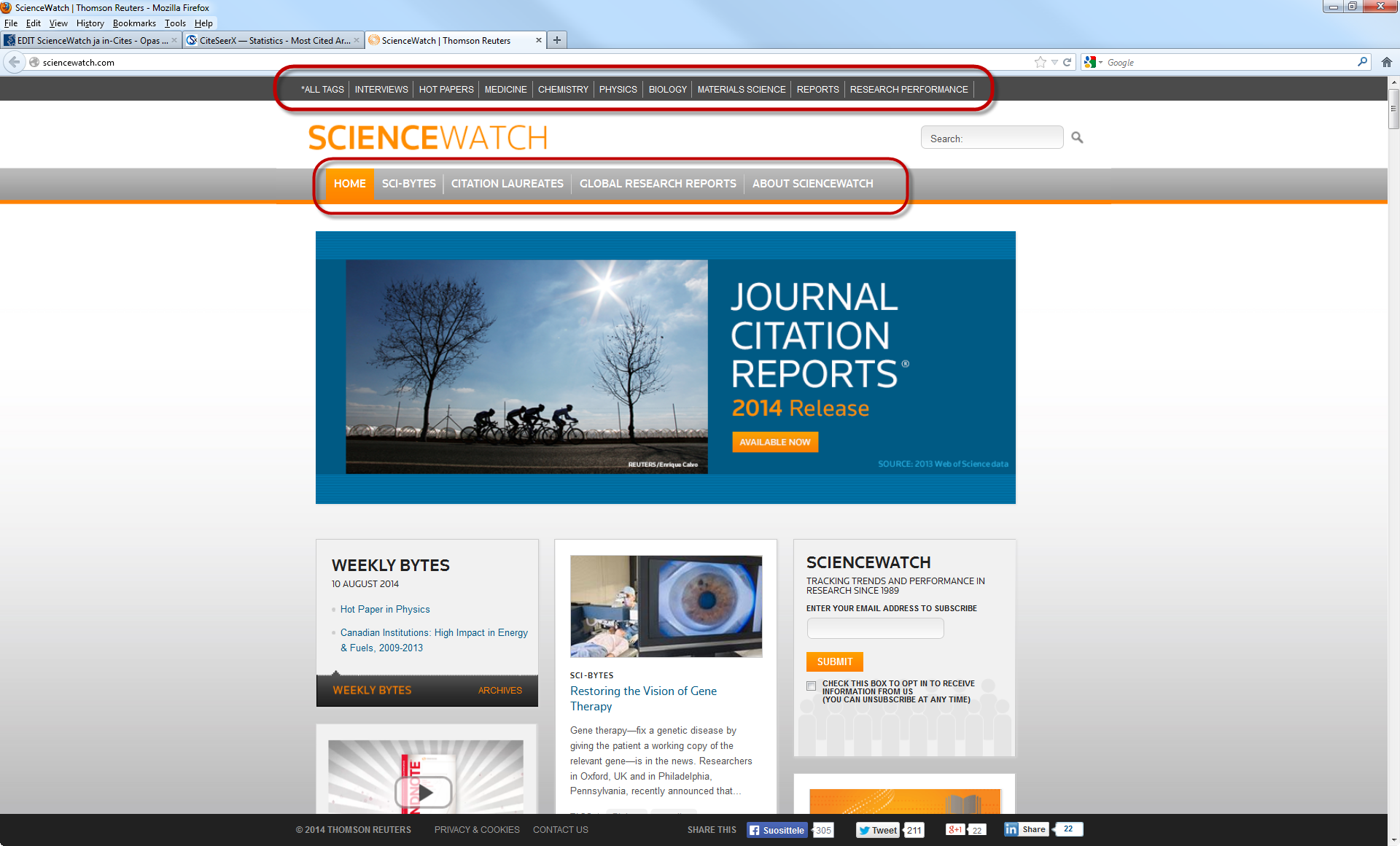 ScienceWatch ja in-Cites - Evaluation based on scientific