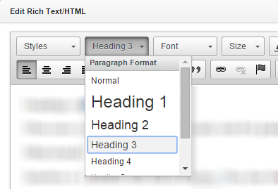 Figure 1: Use the headings options under the Format drop-down menu