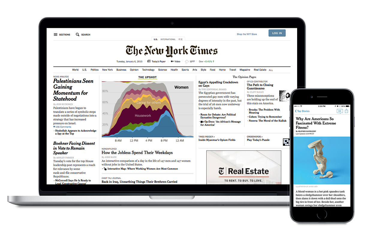 Laptop and phone showing NYTimes digital