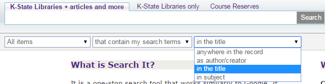 simple search interface showing the right-most drop-down menu expanded