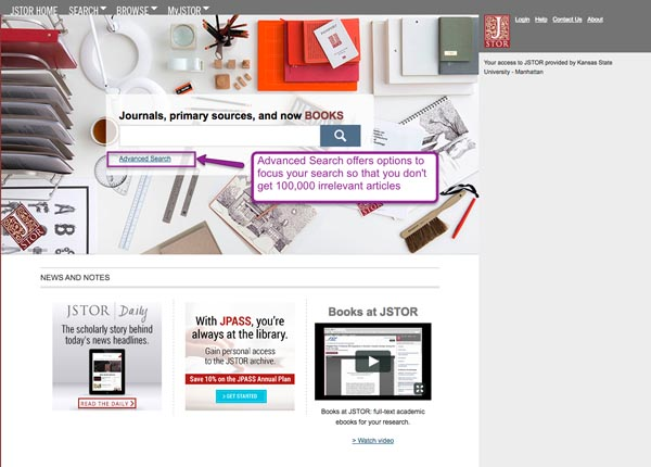 Screenshot of JSTOR home page with link to Advanced Search