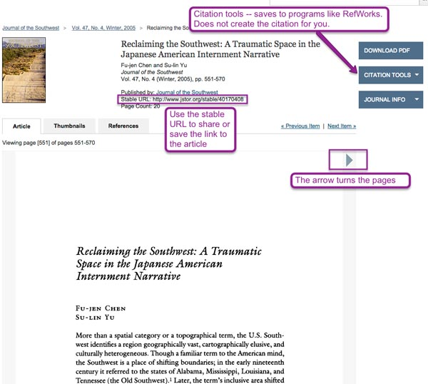 Screenshot of an article page in JSTOR