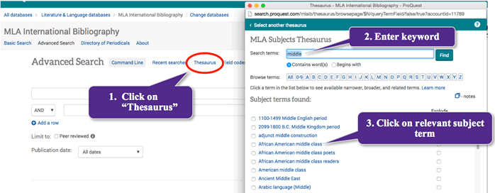 Screenshot of MLA International Bibliography Advanced Search opening Thesaurus