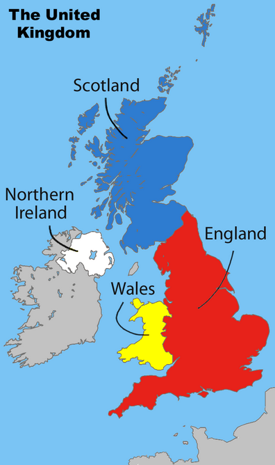 Map of the UK's constituent nations