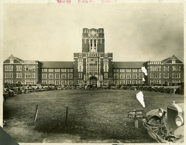 old sepia-toned photograph of Ayres Hall taken from the top of the hill