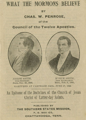 cover of What the Mormons Believe pamphlet by Chas W. Penrose of the Council of the Twelve Apostles.