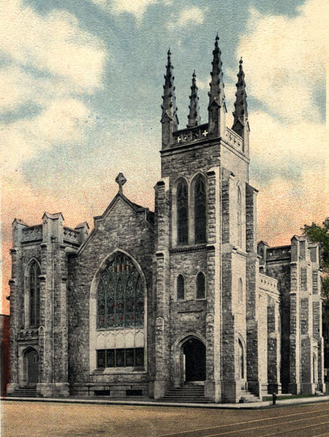 Colorful postcard illustration of a Lutheran Church