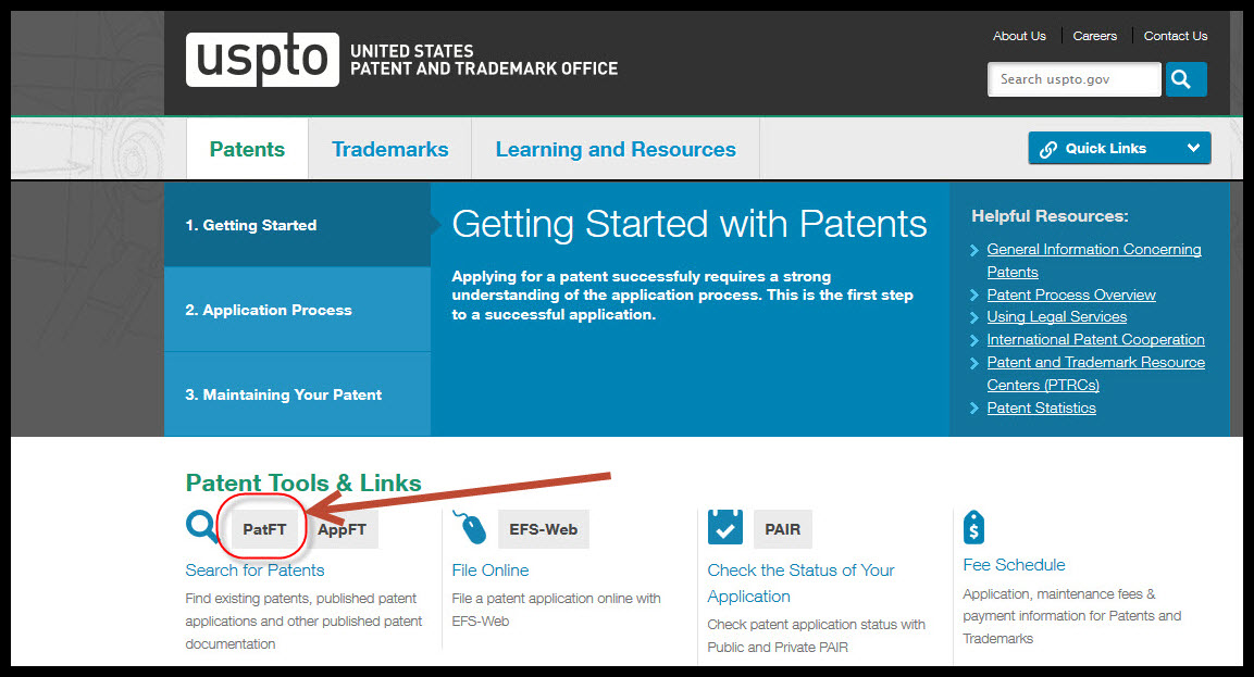 From this page, click on the link for PatFT (Patents Full-Text and Image Database).