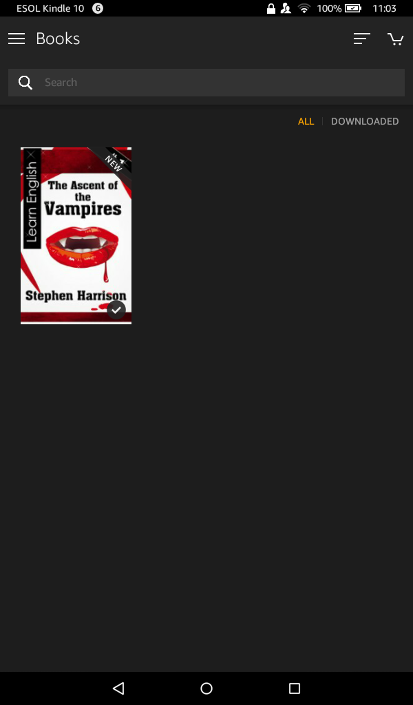 Kindle Book app home view