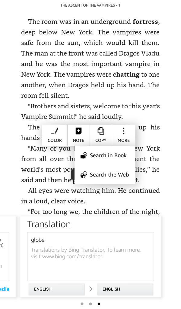 Kindle book highlighted word