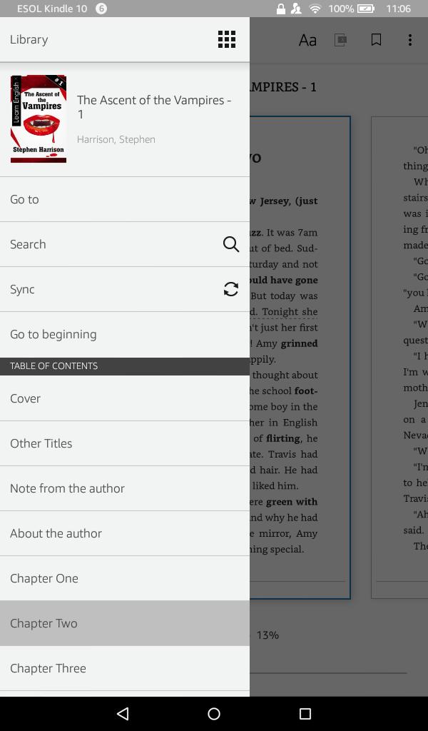Kindle book menu