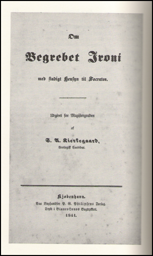 A scann of the cover of Soren Kierkegaard's university thesis, which is an example of gray literature.