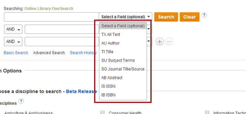 Screenshot of the OneSearch Advanced Search, focused in on the search boxes and their menus. One of the Select A Field pull-down menus is opened, showing the options: Select A Field (optional), TX All Text, AU Author, TI Title, SU Subject Terms, SO Journal Title/Source, AB Abstract, IS ISSN, and IB ISBN.