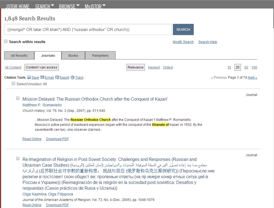 "Screenshot of the JSTOR search results list. The search was ((mongol* OR tatar OR khan*) AND (""russian orthodox"" OR church)). There are 1848 search results."