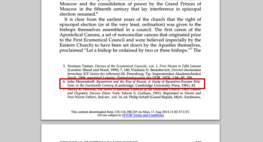 Screenshot of the PDF of an article which has Chicago Style footnotes. One of the citation footnotes is highlighted.