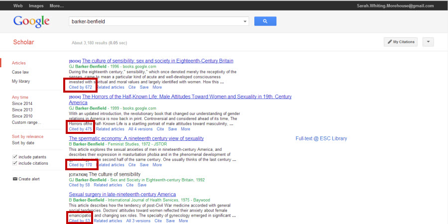 Screenshot of a Google Scholar search results page showing both books and articles by author barker-benfield. Under each search result is a Cited By number (which you can click to see what information sources actually cited it.)
