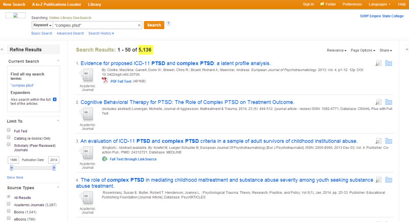 "Screenshot of the OneSearch search results page. We have searched for ""complex ptsd."" The page is displaying 1 through 50 of 5136 search results. In the list, the database displays the title, authors, and other information for each item. To the left there is a Refine Results column. The second box in that column is Limit To, and that is where we're going to do our work here."