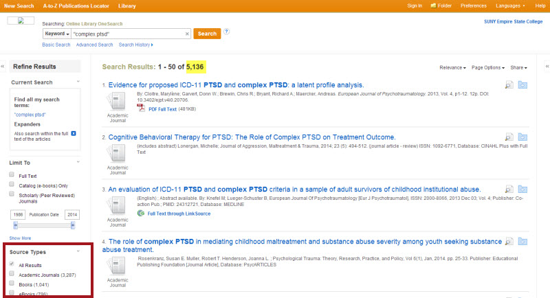 "This is a screenshot of our original search results list for the search ""complex ptsd"". We are viewing 1 through 50 of 5,136 search results. In the Refine Results column on the left, the third box down, is the Source Type limiter."