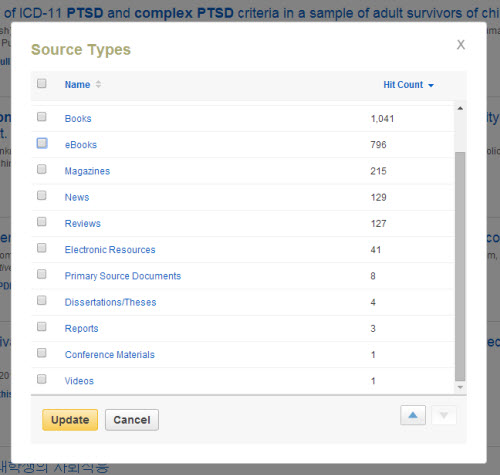 "This is a screenshot of the box that pops up when you click ""Show more"" in the Source Types box. It is a list of document types, like Books, eBooks, Magazines, News, Reviews, Electronic Resources, Primary Source Documents, Dissertations/Theses, Reports, Conference Materials, Videos, etc., with check-boxes. It also has a Hit Count for each document type. For example, there are 796 eBooks for this search, and 129 News. At the bottom there is a button for Update and a button for Cancel."