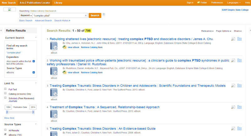 Screenshot of the search results list now that I clicked off eBooks under Source Type. There are now 796 search results, and all of them are eBooks.