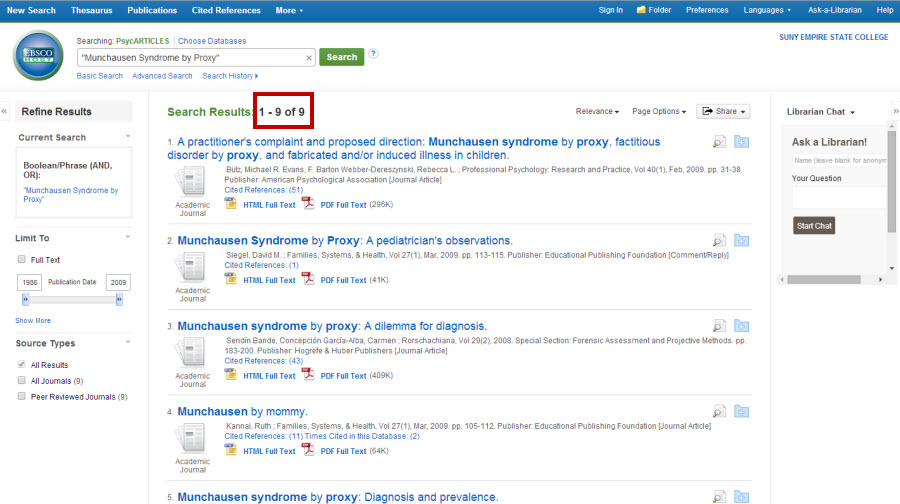 "Screenshot of search results list for ""munchausen syndrome by proxy"" in the PsycArticles database. It is showing 1 to 9 of 9 search results."