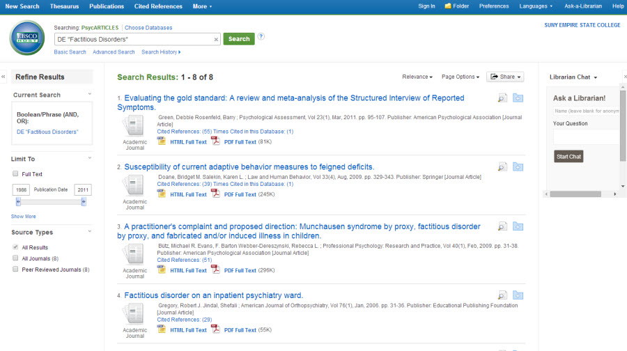 "Search results page in the PsycArticles database. The search box says DE ""Factitious Disorders"". It is displaying search results 1 through 8 of 8."
