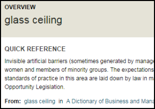 "Screenshot of part of a page of an online, subject-specific dictionary. The entry being displayed is ""glass ceiling."""