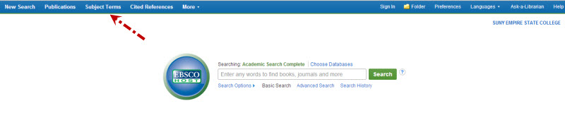 Screenshot of the EBSCOhost main (basic search) page. Up at the top of the page is a menu bar with items: New Search, Publications, Subject Terms (this is the thesaurus link!), Cited References, and More. Below that is the EBSCOhost logo and the search box.