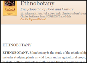 "Screenshot of part of the Encyclopedia of Food and Culture. The entry is ""ethnobotany."""