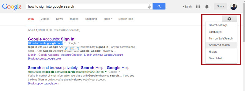 Screenshot of Google Search. At the top there is the search box and Google account info. Below that is a menu of search options: Web, Videos, News, Shopping, Images, a More pulldown menu, and Search Tools. To the right of that is the gear icon, which has been clicked to show its menu, which contains Search Settings, Languages, Turn on SafeSearch, Advanced Search, History, and Search Help. Below that are the search results.