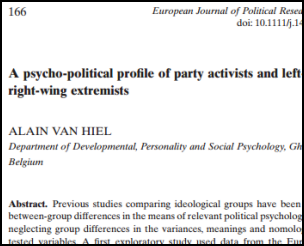 Screenshot of the front page of an article in the European Journal of Political Research.