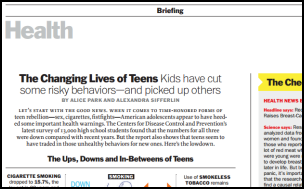 Screenshot of the front page of an article in Health Magazine.