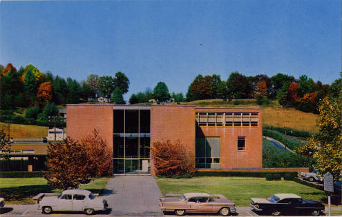 Postcard Library Front Entrance. 1950s.
