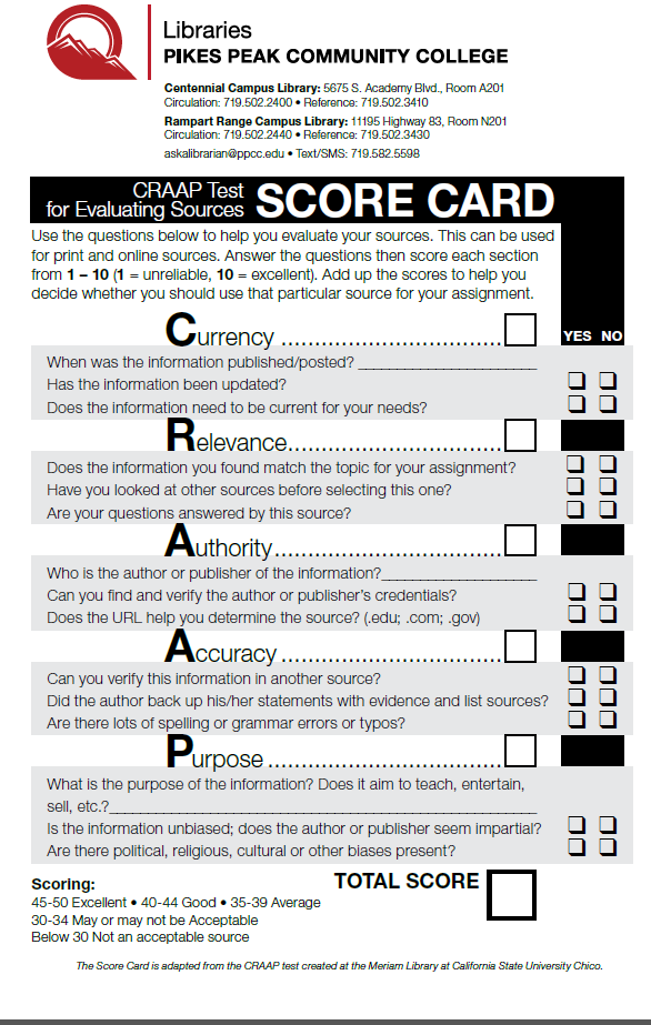 An image of the CRAAP scorecard which can be downloaded as a PDF below