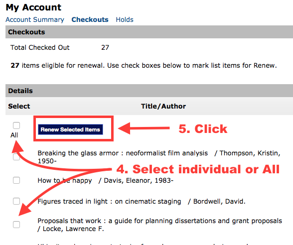 Select items with checkboxes, then click 'Renew Selected Items'