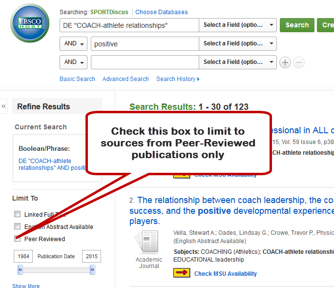 Screenshot of peer-review filter location in EBSCO