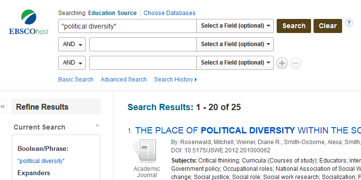 "The search terms ""political diversity"" are entered in the first search field and the results of the search are displayed."
