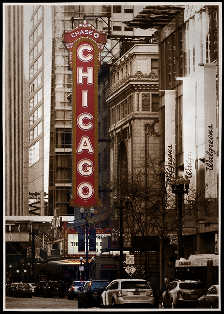 Image of the Chicago Theatre's famous Marquee. Red and yellow sign spelling out Chicago vertically.