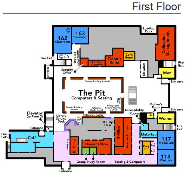 Map of the first floor of the library
