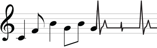 Staff music where notes turn to an EKG heartbeat