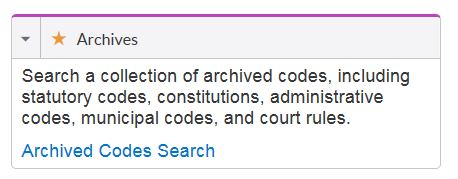 Archived Codes Search on Lexis Advance
