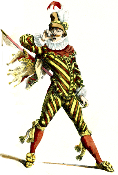 Costume drawing in color by Maurice Sand
