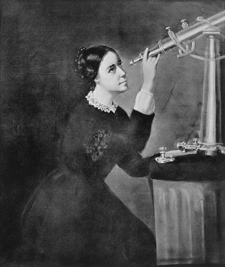 Maria Mitchell with telescope
