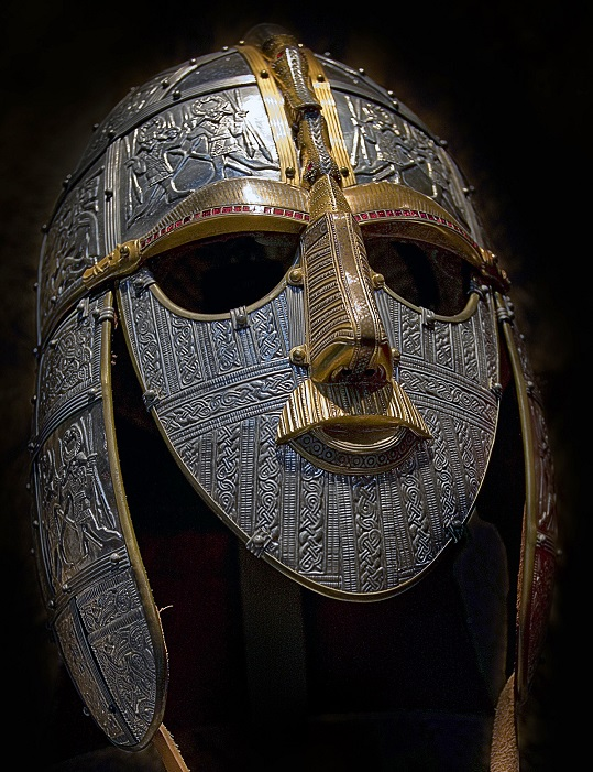 This shows a large image of the Sutton Hoo helmet